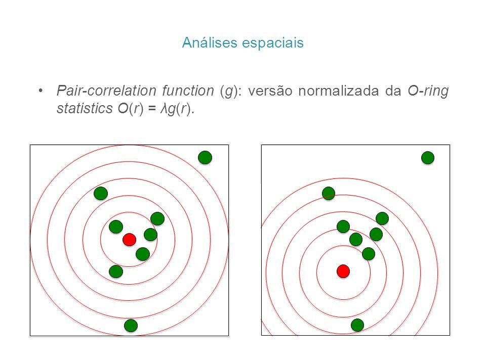 Pair-correlation function (g): versão normalizada da O-ring statistics O(r) = λg(r). Análises espaciais