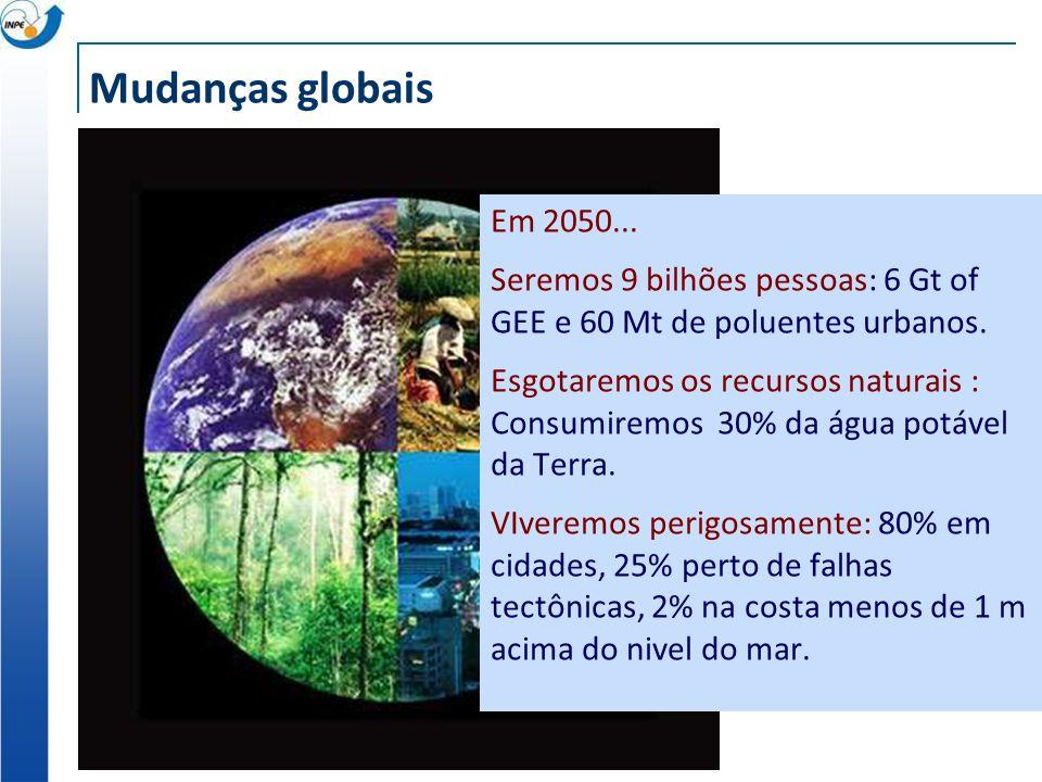 Mudanças globais Em 2050... Seremos 9 bilhões pessoas: 6 Gt of GEE e 60 Mt de poluentes urbanos. Esgotaremos os recursos naturais : Consumiremos 30% d