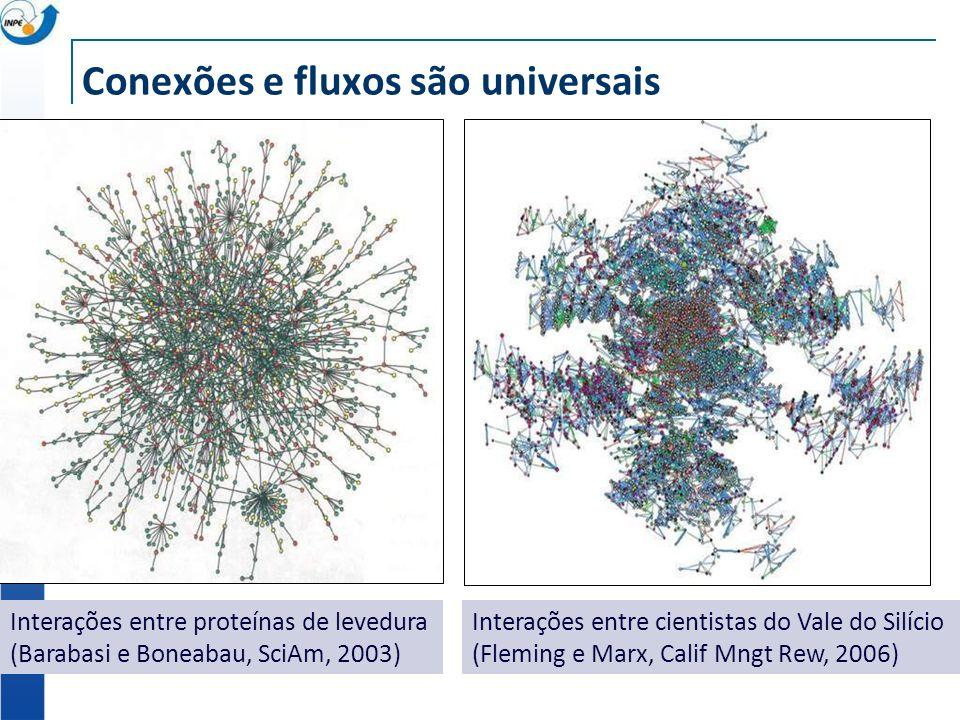 Conexões e fluxos são universais Interações entre proteínas de levedura (Barabasi e Boneabau, SciAm, 2003) Interações entre cientistas do Vale do Silício (Fleming e Marx, Calif Mngt Rew, 2006)