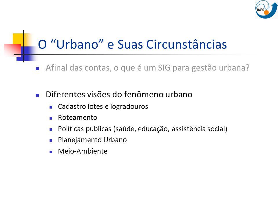 O Urbano e Suas Circunstâncias Afinal das contas, o que é um SIG para gestão urbana? Diferentes visões do fenômeno urbano Cadastro lotes e logradouros