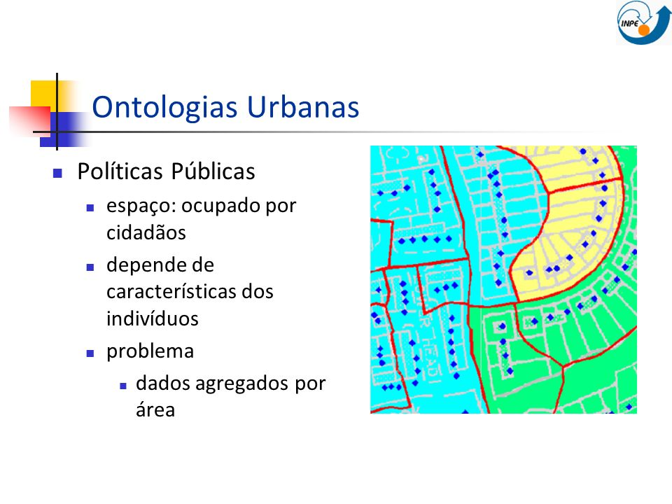 Ontologias Urbanas Políticas Públicas espaço: ocupado por cidadãos depende de características dos indivíduos problema dados agregados por área
