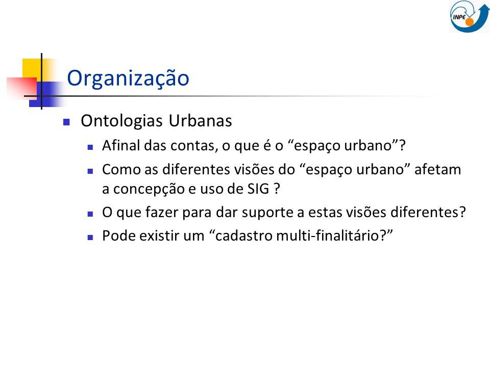 Organização Ontologias Urbanas Afinal das contas, o que é o espaço urbano? Como as diferentes visões do espaço urbano afetam a concepção e uso de SIG