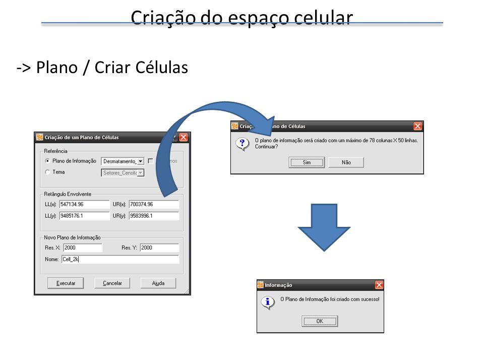 Criação do espaço celular -> Plano / Criar Células