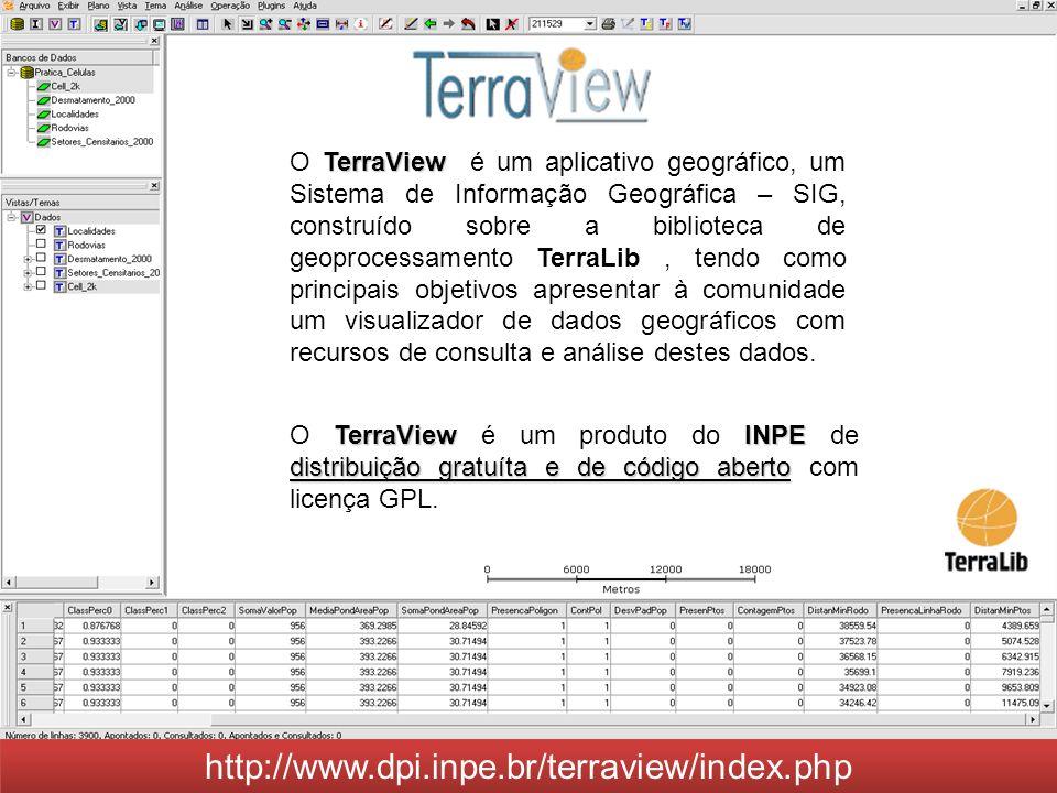 TerraView O TerraView é um aplicativo geográfico, um Sistema de Informação Geográfica – SIG, construído sobre a biblioteca de geoprocessamento TerraLi