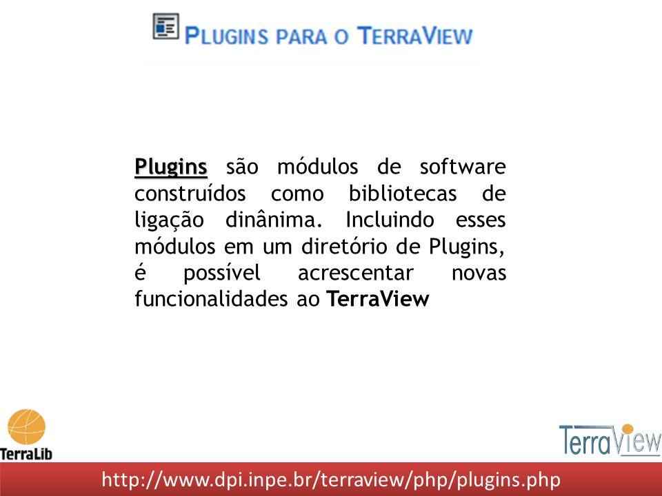 http://www.dpi.inpe.br/terraview/php/plugins.php Plugins Plugins são módulos de software construídos como bibliotecas de ligação dinânima. Incluindo e