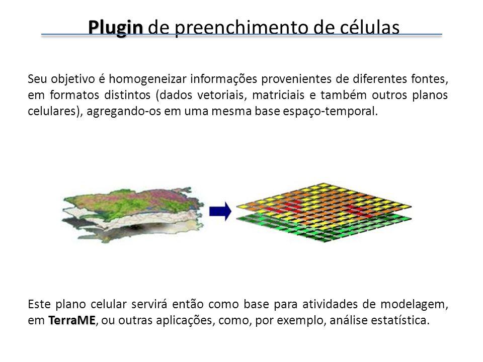 Plugin Plugin de preenchimento de células De acordo com a representação geométrica e a semântica dos atributos dos dados de entrada, diferentes operadores podem ser aplicados.
