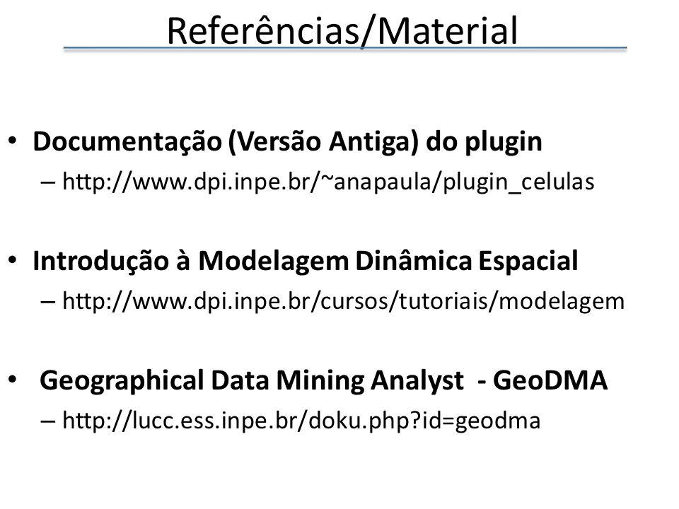 Referências/Material Documentação (Versão Antiga) do plugin – http://www.dpi.inpe.br/~anapaula/plugin_celulas Introdução à Modelagem Dinâmica Espacial