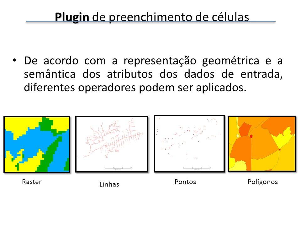 Plugin Plugin de preenchimento de células De acordo com a representação geométrica e a semântica dos atributos dos dados de entrada, diferentes operad