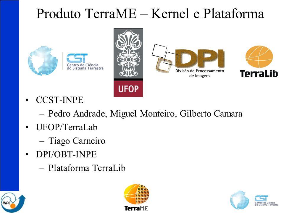 Produto TerraME – Kernel e Plataforma CCST-INPE –Pedro Andrade, Miguel Monteiro, Gilberto Camara UFOP/TerraLab –Tiago Carneiro DPI/OBT-INPE –Plataforma TerraLib