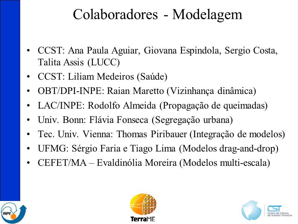 Colaboradores - Modelagem CCST: Ana Paula Aguiar, Giovana Espindola, Sergio Costa, Talita Assis (LUCC) CCST: Liliam Medeiros (Saúde) OBT/DPI-INPE: Raian Maretto (Vizinhança dinâmica) LAC/INPE: Rodolfo Almeida (Propagação de queimadas) Univ.