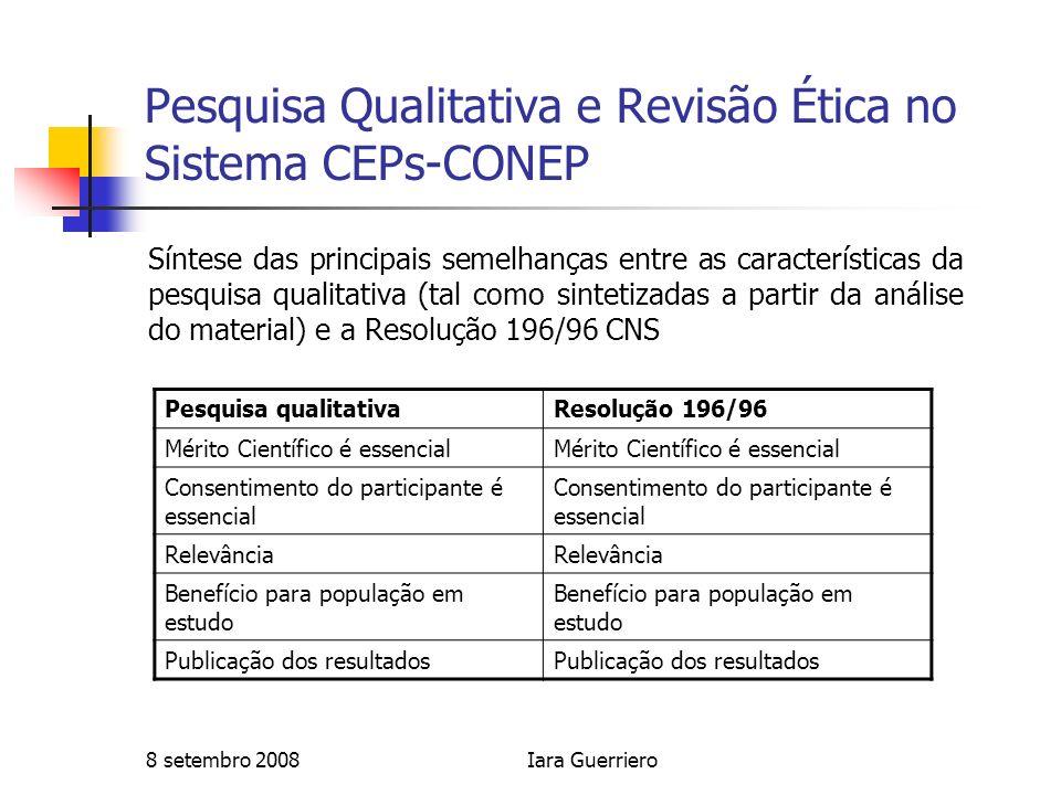 8 setembro 2008Iara Guerriero Pesquisa Qualitativa e Revisão Ética no Sistema CEPs-CONEP Síntese das principais semelhanças entre as características d