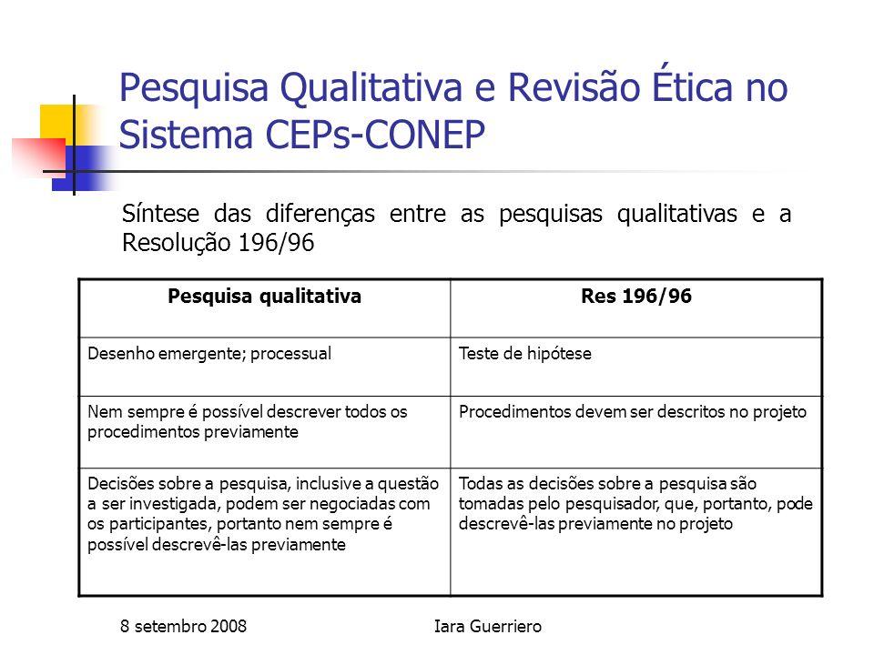 8 setembro 2008Iara Guerriero Pesquisa Qualitativa e Revisão Ética no Sistema CEPs-CONEP Pesquisa qualitativaRes 196/96 Desenho emergente; processualT