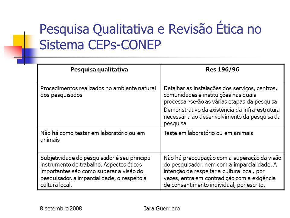 8 setembro 2008Iara Guerriero Pesquisa Qualitativa e Revisão Ética no Sistema CEPs-CONEP Pesquisa qualitativaRes 196/96 Procedimentos realizados no am