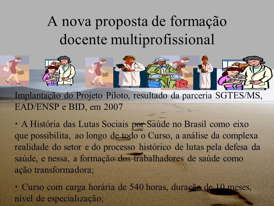 A nova proposta de formação docente multiprofissional Implantação do Projeto Piloto, resultado da parceria SGTES/MS, EAD/ENSP e BID, em 2007 A Históri
