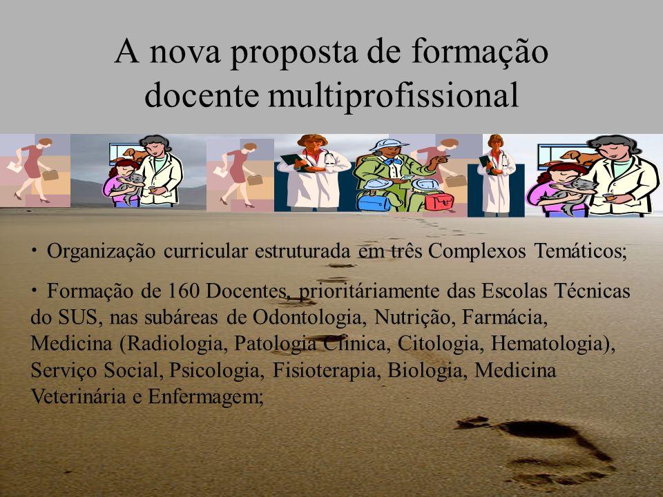 A nova proposta de formação docente multiprofissional Organização curricular estruturada em três Complexos Temáticos; Formação de 160 Docentes, priori
