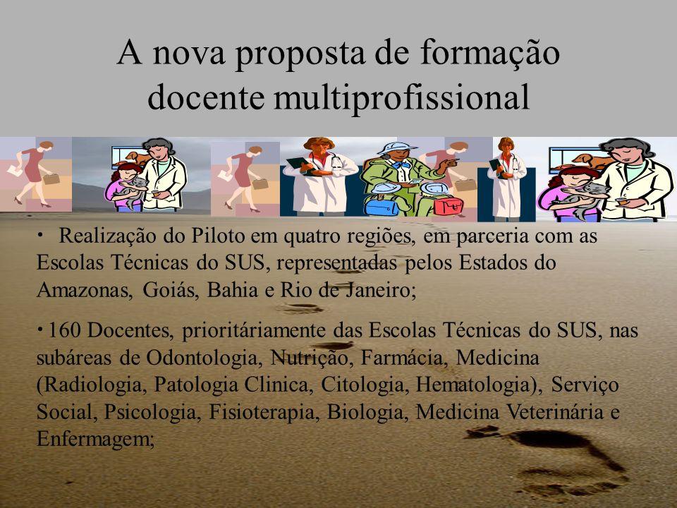 A nova proposta de formação docente multiprofissional Realização do Piloto em quatro regiões, em parceria com as Escolas Técnicas do SUS, representada