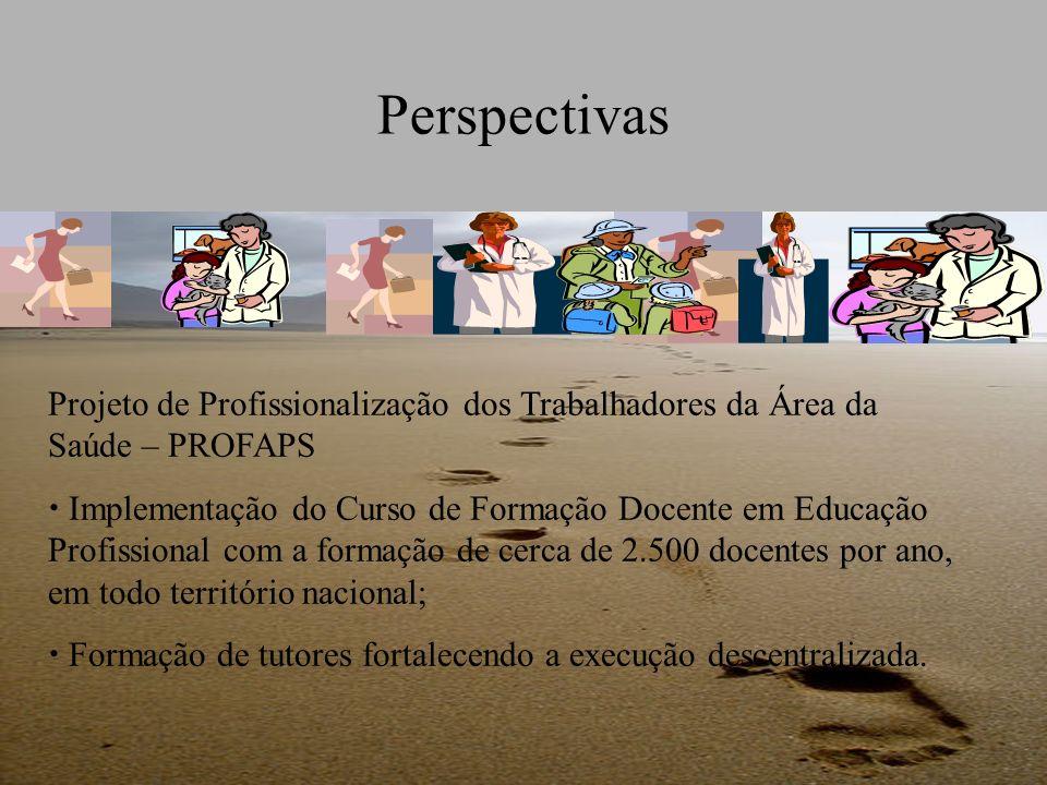 Perspectivas Projeto de Profissionalização dos Trabalhadores da Área da Saúde – PROFAPS Implementação do Curso de Formação Docente em Educação Profiss