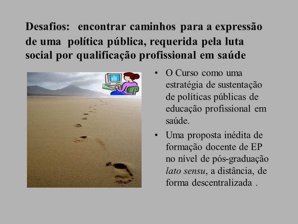 O Curso como uma estratégia de sustentação de políticas públicas de educação profissional em saúde. Uma proposta inédita de formação docente de EP no