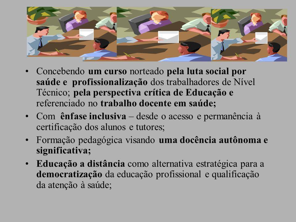 Avaliação do processo ensino-aprendizagem Procedimento solidário ao processo de aprendizagem, com atividades e observação formativa focalizando o contexto,sujeitos e práticas; Valora mais o processo, o trabalho em grupo, novas formas de realizar as provas presenciais e Trabalho de Conclusão do Curso (TCC); Oficinas regionais de formação inicial e continuada de Tutores ( Projeto Seiva, online);