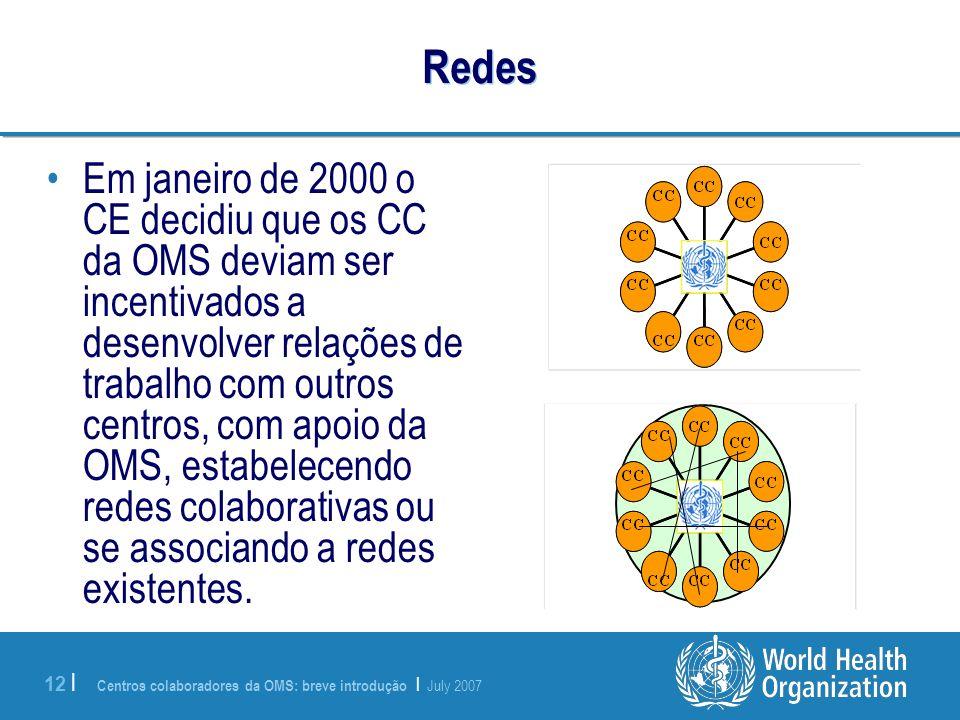 Centros colaboradores da OMS: breve introdução | July 2007 12 | Redes Em janeiro de 2000 o CE decidiu que os CC da OMS deviam ser incentivados a desen