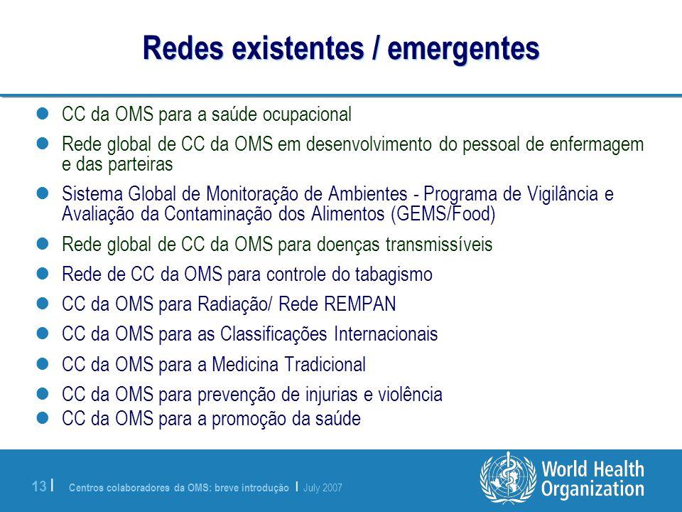 Centros colaboradores da OMS: breve introdução | July 2007 13 | Redes existentes / emergentes CC da OMS para a saúde ocupacional Rede global de CC da