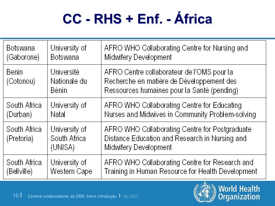 Centros colaboradores da OMS: breve introdução | July 2007 16 | CC - RHS + Enf. - África