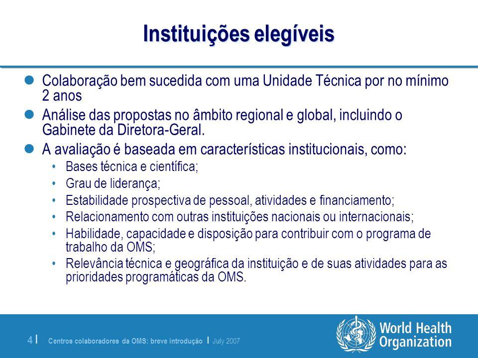 Centros colaboradores da OMS: breve introdução | July 2007 4 |4 | Instituições elegíveis Colaboração bem sucedida com uma Unidade Técnica por no mínim