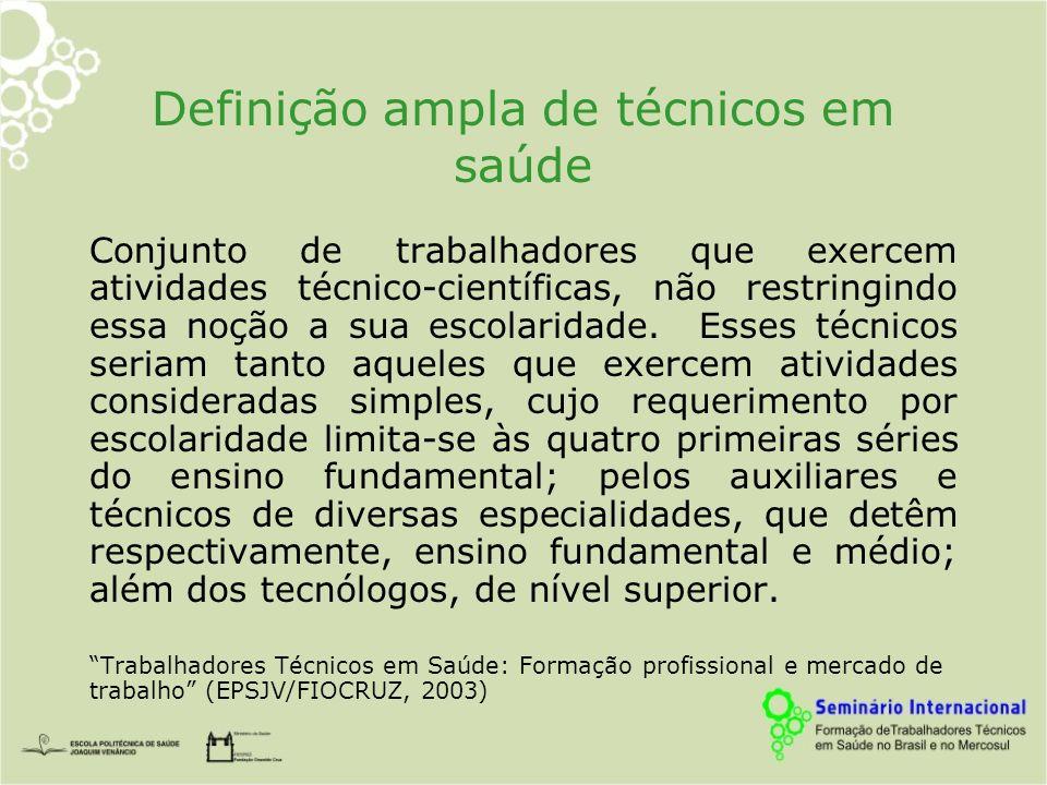 Definição ampla de técnicos em saúde Conjunto de trabalhadores que exercem atividades técnico-científicas, não restringindo essa noção a sua escolaridade.