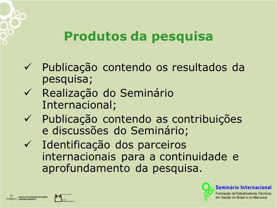 Produtos da pesquisa Publicação contendo os resultados da pesquisa; Realização do Seminário Internacional; Publicação contendo as contribuições e discussões do Seminário; Identificação dos parceiros internacionais para a continuidade e aprofundamento da pesquisa.