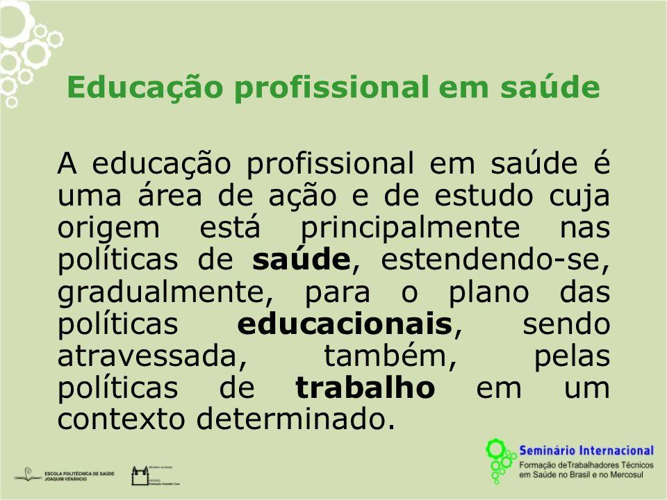 Educação profissional em saúde A educação profissional em saúde é uma área de ação e de estudo cuja origem está principalmente nas políticas de saúde, estendendo-se, gradualmente, para o plano das políticas educacionais, sendo atravessada, também, pelas políticas de trabalho em um contexto determinado.