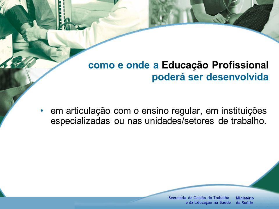 Ministério da Saúde Secretaria de Gestão do Trabalho e da Educação na Saúde como e onde a Educação Profissional poderá ser desenvolvida em articulação com o ensino regular, em instituições especializadas ou nas unidades/setores de trabalho.