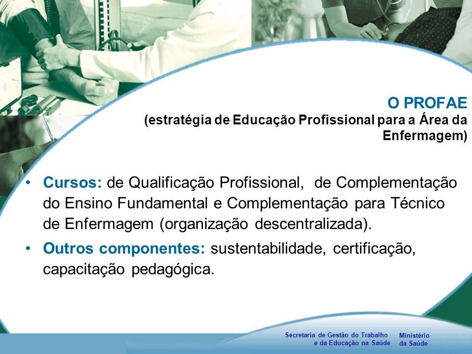 Ministério da Saúde Secretaria de Gestão do Trabalho e da Educação na Saúde O PROFAE (estratégia de Educação Profissional para a Área da Enfermagem) Cursos: de Qualificação Profissional, de Complementação do Ensino Fundamental e Complementação para Técnico de Enfermagem (organização descentralizada).