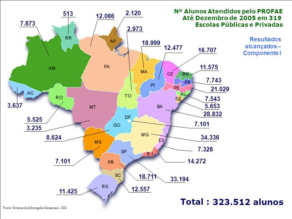 Ministério da Saúde Secretaria de Gestão do Trabalho e da Educação na Saúde Resultados alcançados – Componente I Nº Alunos Atendidos pelo PROFAE Até Dezembro de 2005 em 319 Escolas Públicas e Privadas 7.543 28.832 16.707 7.101 7.328 8.624 18.999 34.336 7.101 7.743 21.029 12.477 18.711 14.272 11.575 5.525 33.194 Total : 323.512 alunos 3.235 12.086 2.973 5.653 3.637 7.873 2.120 513 11.425 12.557 Fonte: Sistema de Informações Gerenciais - SIG