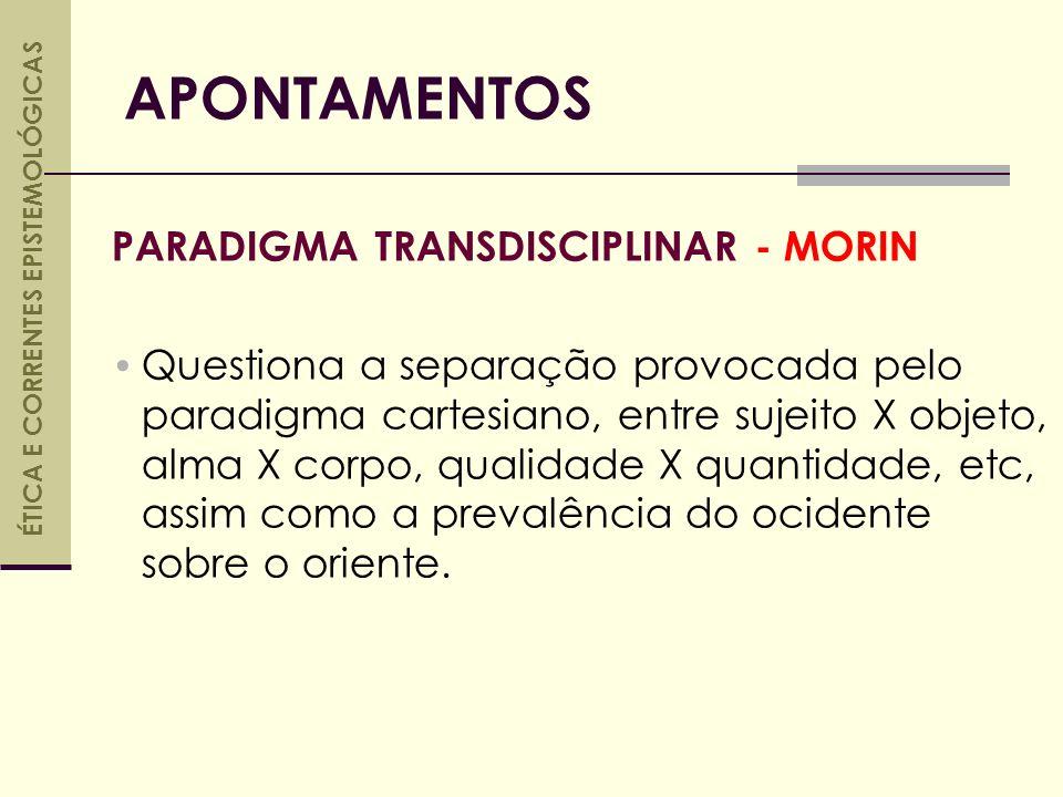 PARADIGMA TRANSDISCIPLINAR - MORIN Questiona a separação provocada pelo paradigma cartesiano, entre sujeito X objeto, alma X corpo, qualidade X quantidade, etc, assim como a prevalência do ocidente sobre o oriente.