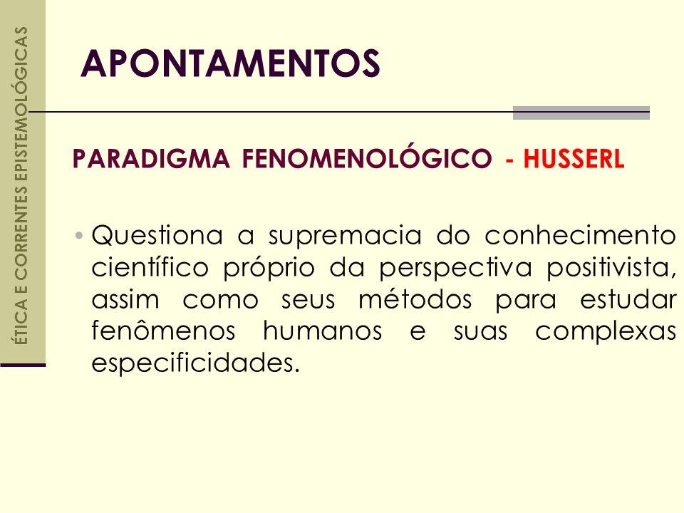 PARADIGMA FENOMENOLÓGICO - HUSSERL Questiona a supremacia do conhecimento científico próprio da perspectiva positivista, assim como seus métodos para estudar fenômenos humanos e suas complexas especificidades.