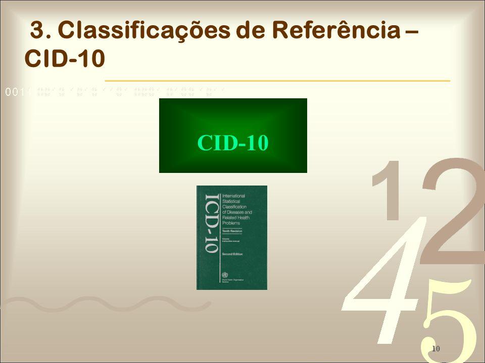 10 3. Classificações de Referência – CID-10 CID-10