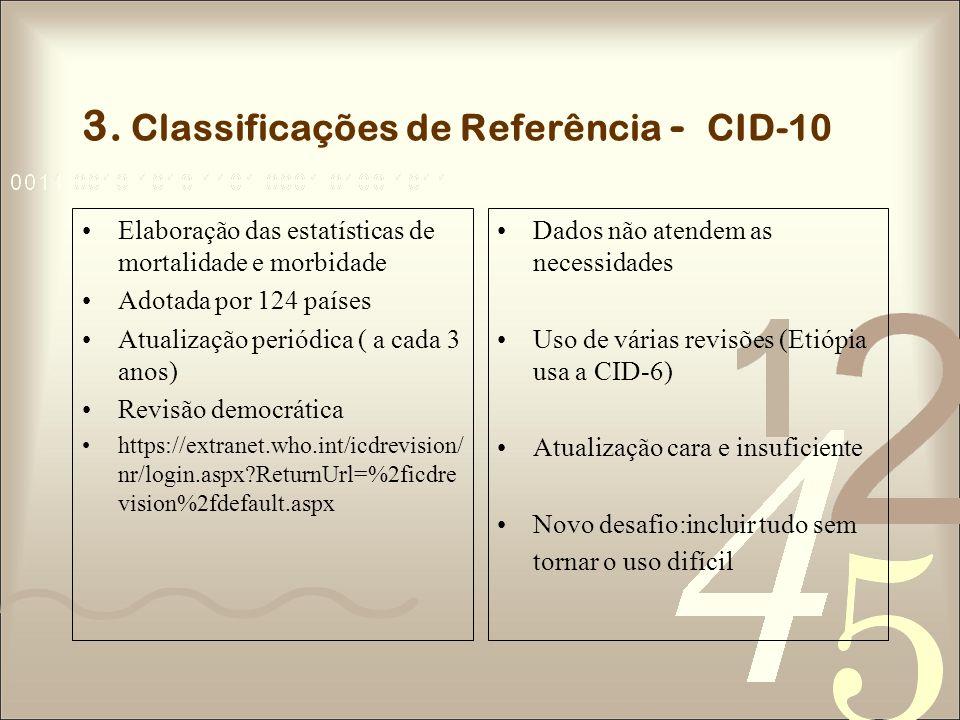 3. Classificações de Referência - CID-10 Elaboração das estatísticas de mortalidade e morbidade Adotada por 124 países Atualização periódica ( a cada