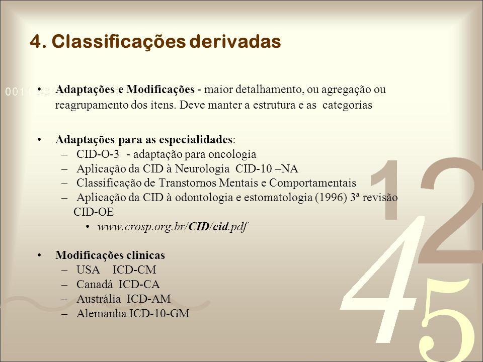 4. Classificações derivadas Adaptações e Modificações - maior detalhamento, ou agregação ou reagrupamento dos itens. Deve manter a estrutura e as cate