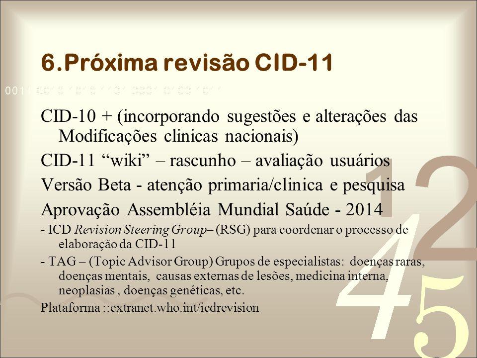 6.Próxima revisão CID-11 CID-10 + (incorporando sugestões e alterações das Modificações clinicas nacionais) CID-11 wiki – rascunho – avaliação usuário
