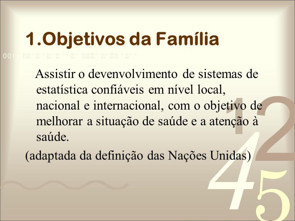 1.Objetivos da Família Assistir o devenvolvimento de sistemas de estatística confiáveis em nível local, nacional e internacional, com o objetivo de me