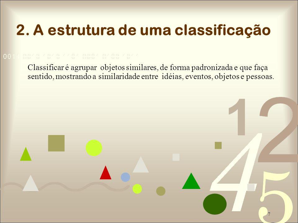 7 Classificar é agrupar objetos similares, de forma padronizada e que faça sentido, mostrando a similaridade entre idéias, eventos, objetos e pessoas.