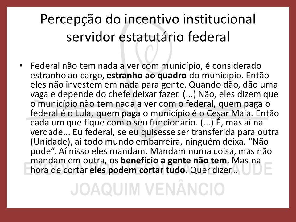 Percepção do incentivo institucional servidor estatutário federal Federal não tem nada a ver com município, é considerado estranho ao cargo, estranho ao quadro do município.