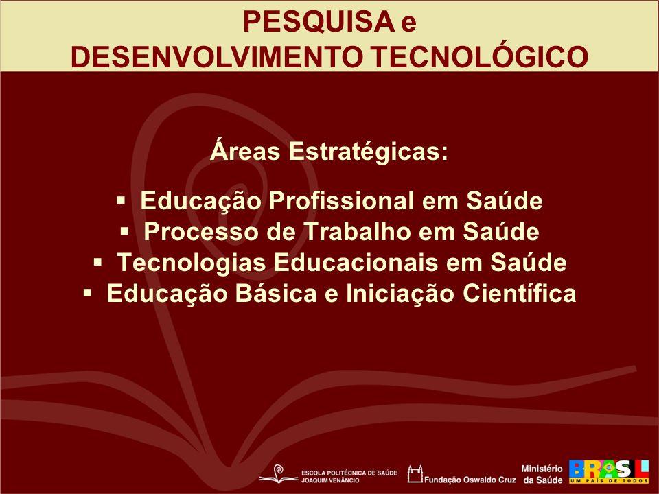 PESQUISA e DESENVOLVIMENTO TECNOLÓGICO Áreas Estratégicas: Educação Profissional em Saúde Processo de Trabalho em Saúde Tecnologias Educacionais em Saúde Educação Básica e Iniciação Científica