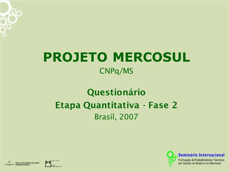 PROJETO MERCOSUL CNPq/MS Questionário Etapa Quantitativa - Fase 2 Brasil, 2007