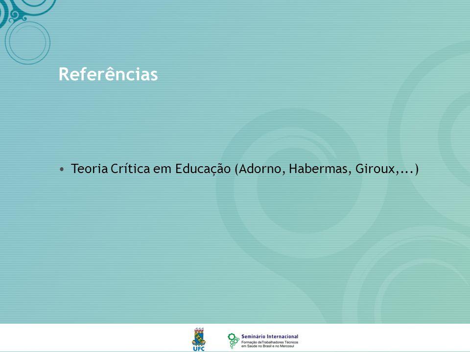 Referências Teoria Crítica em Educação (Adorno, Habermas, Giroux,...)