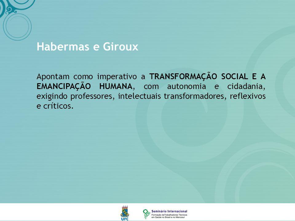 Habermas e Giroux Apontam como imperativo a TRANSFORMAÇÃO SOCIAL E A EMANCIPAÇÃO HUMANA, com autonomia e cidadania, exigindo professores, intelectuais transformadores, reflexivos e críticos.