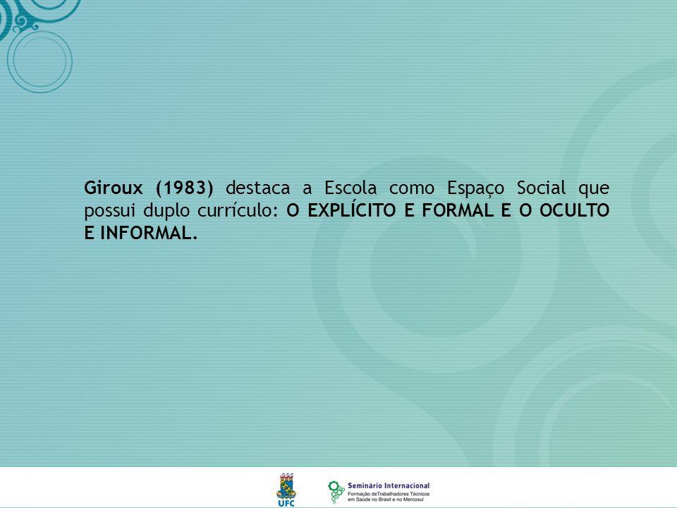 Giroux (1983) destaca a Escola como Espaço Social que possui duplo currículo: O EXPLÍCITO E FORMAL E O OCULTO E INFORMAL.