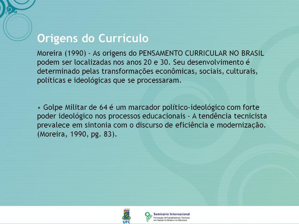 Origens do Currículo Moreira (1990) - As origens do PENSAMENTO CURRICULAR NO BRASIL podem ser localizadas nos anos 20 e 30.