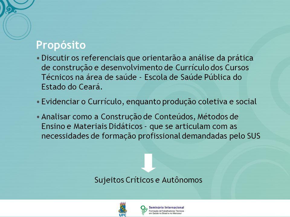 Propósito Discutir os referenciais que orientarão a análise da prática de construção e desenvolvimento de Currículo dos Cursos Técnicos na área de saúde - Escola de Saúde Pública do Estado do Ceará.