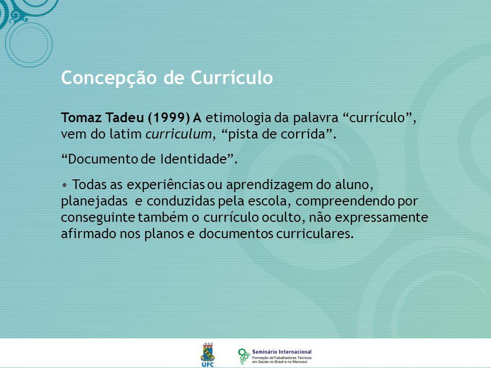Concepção de Currículo Tomaz Tadeu (1999) A etimologia da palavra currículo, vem do latim curriculum, pista de corrida.